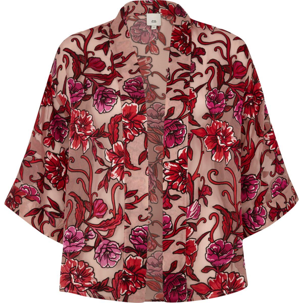 Pink floral devore cropped cape jacket