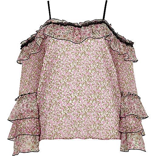 Cream floral print frill cold shoulder top