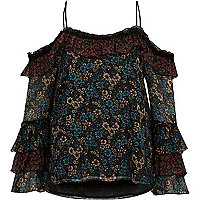 Black floral print cold shoulder frill top