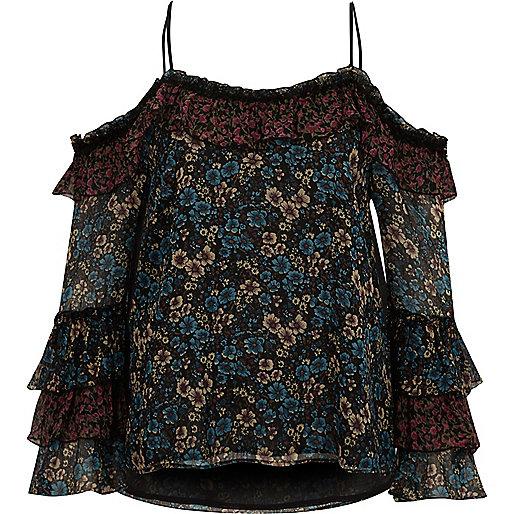 Black floral print cold shoulder frill top