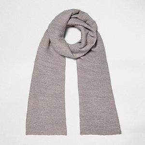 Écharpe colour block grise et rose côtelée
