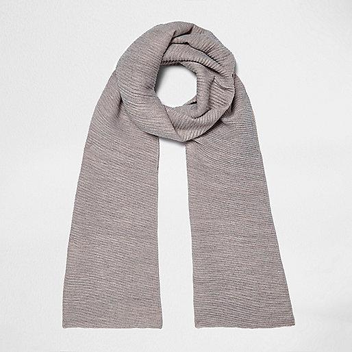 Grey and pink rib color block scarf
