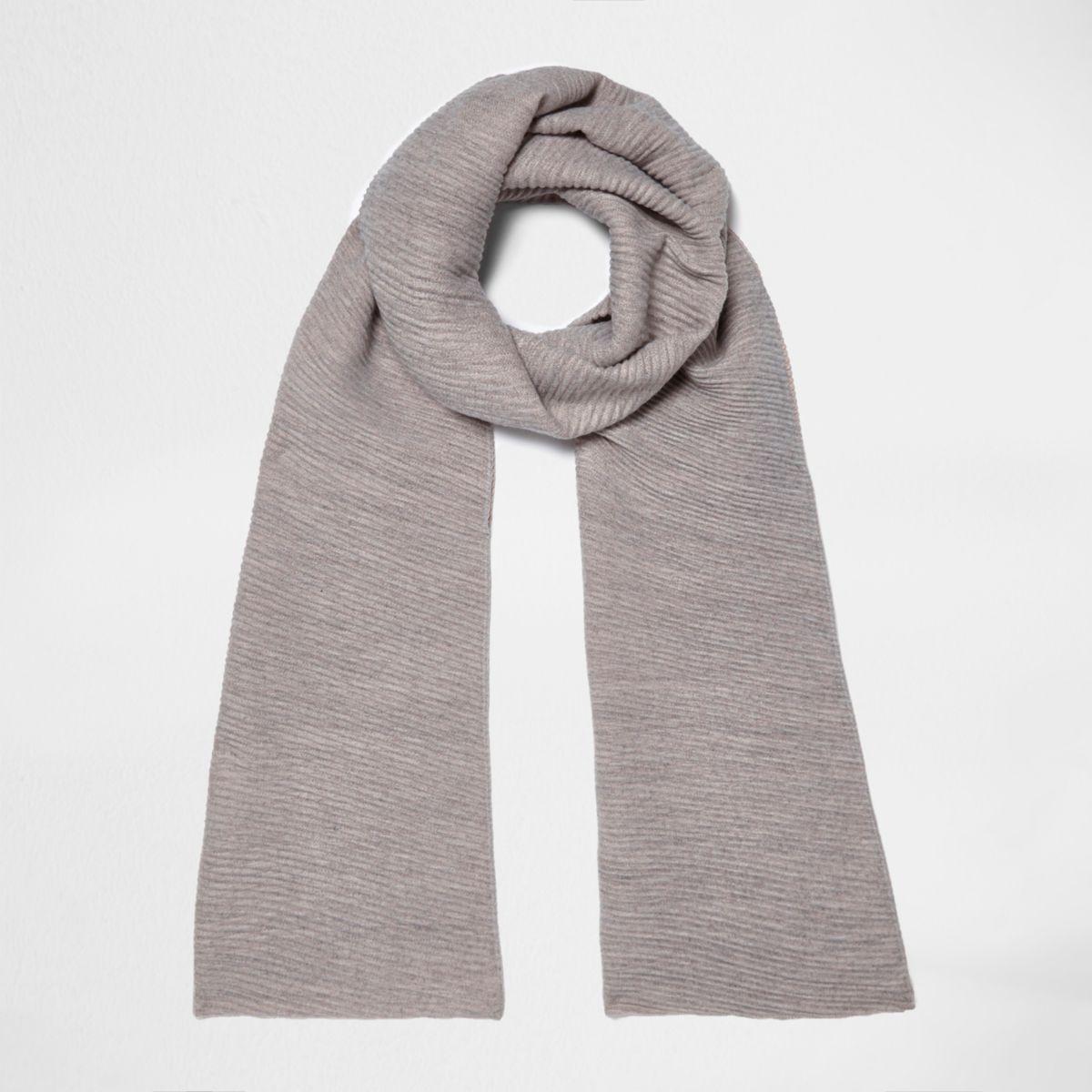 Grey and pink rib colour block scarf