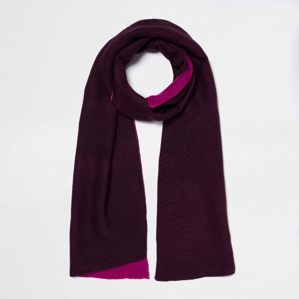 Dark red and fuschia rib colour block scarf