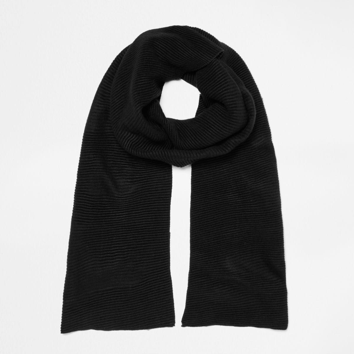 Black and khaki rib color block scarf