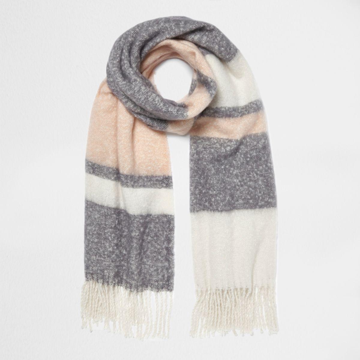 Light pink block stripe blanket scarf
