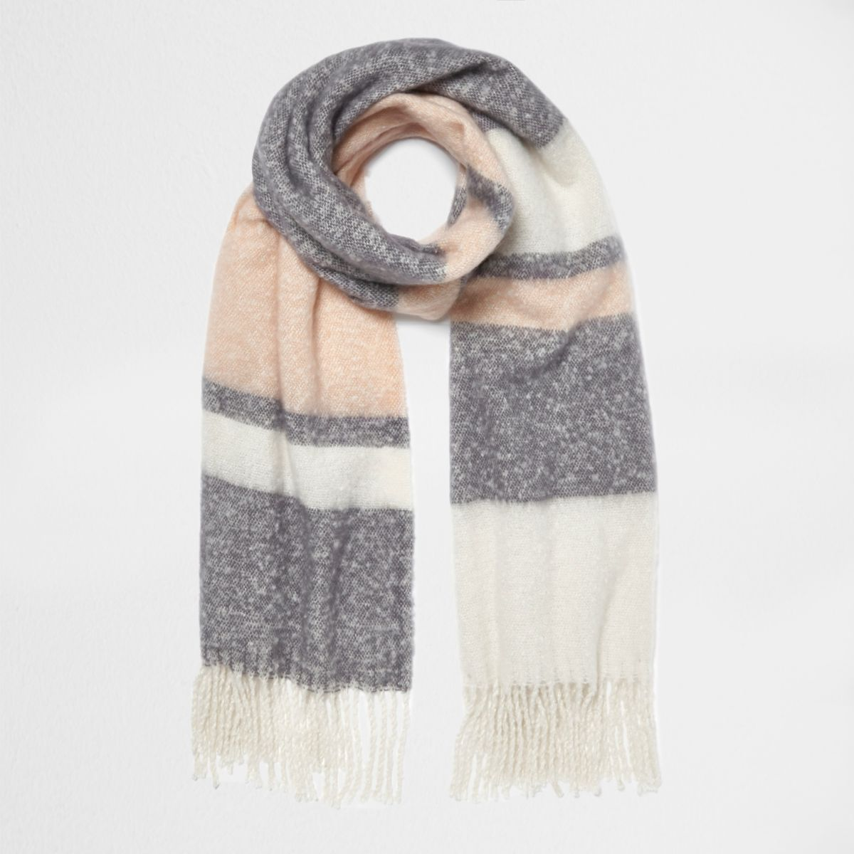 Light pink block stripe blanket scarf