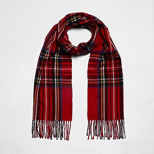 Red plaid check scarf