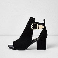 Black wide fit buckle block heel shoe boot