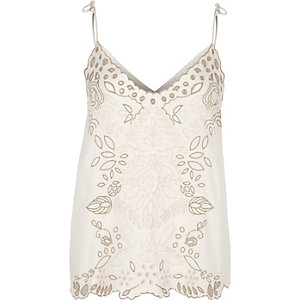 Cream embroidered cutwork bow cami top