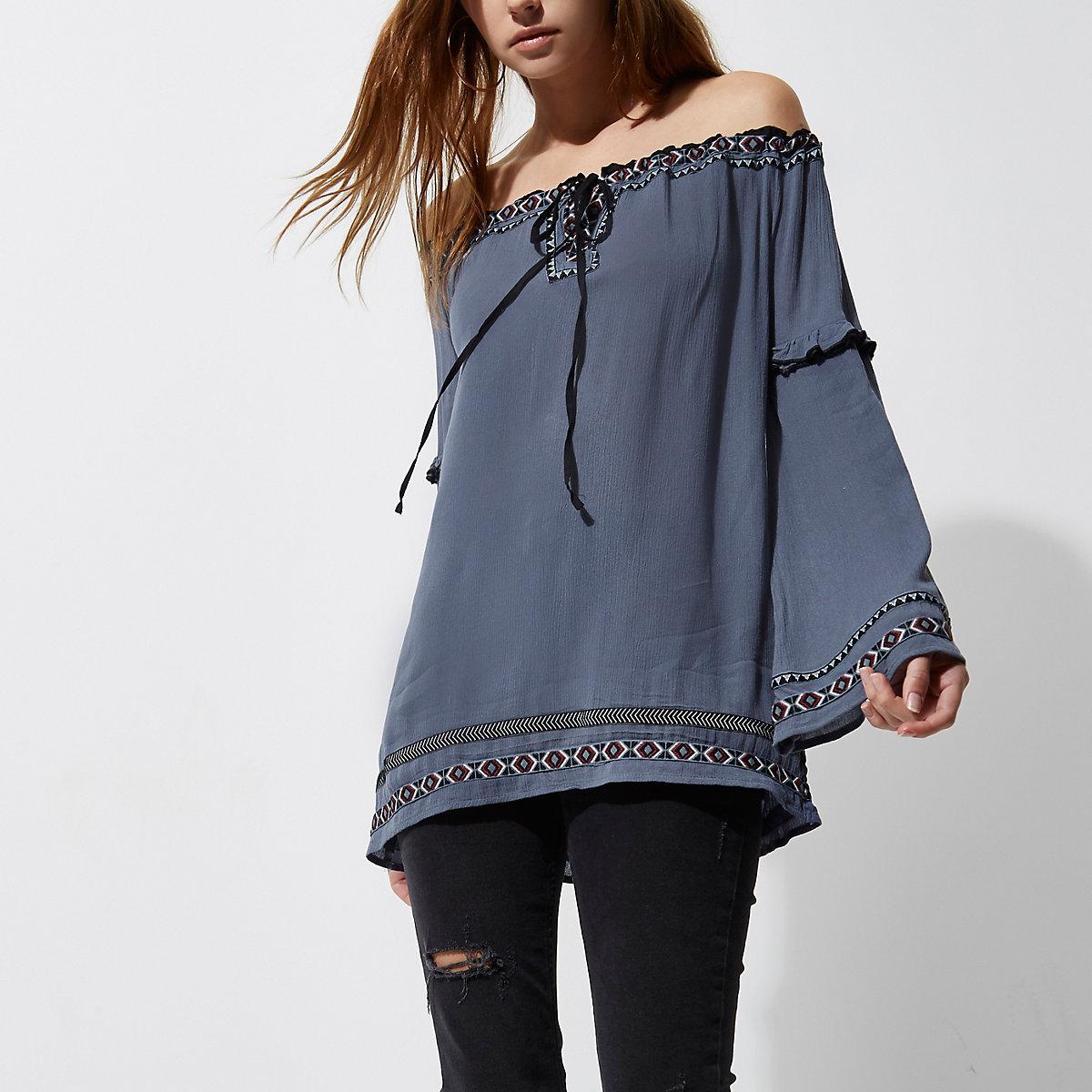 Blue embroidered bardot smock top
