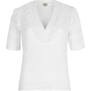White lace frill v neck top