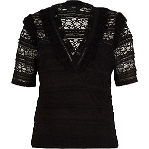 Black lace frill v neck top