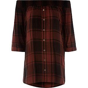 Red check shirred bardot shirt