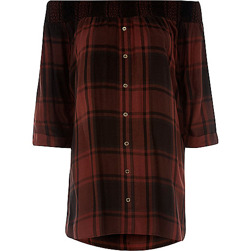 Red check shirred bardot shirt