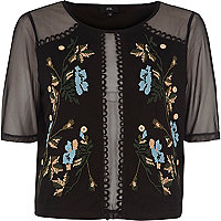 Black embroidered mesh T-shirt