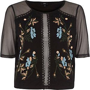 Schwarzes, verziertes Mesh-T-Shirt