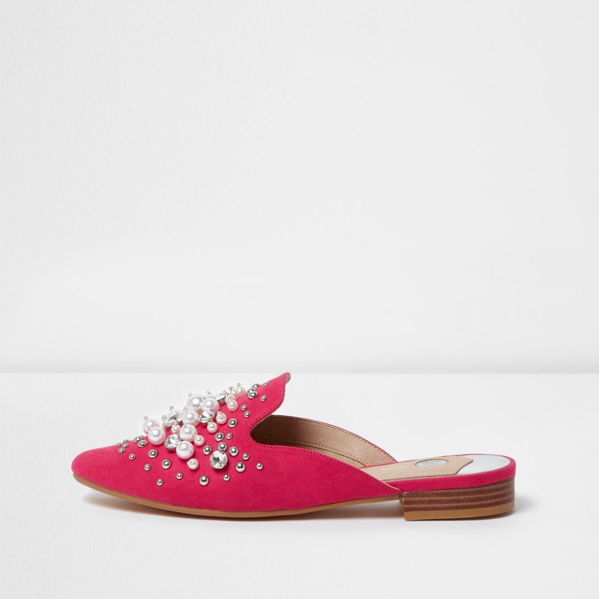 Pink faux pearl embellished backless loafers