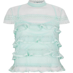 Light green mesh frill high neck top