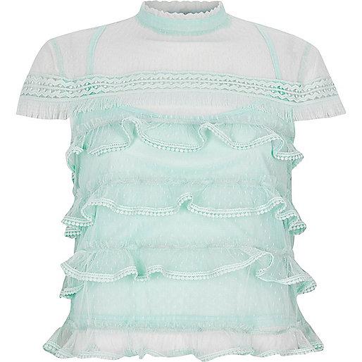 Light green mesh frill high neck top