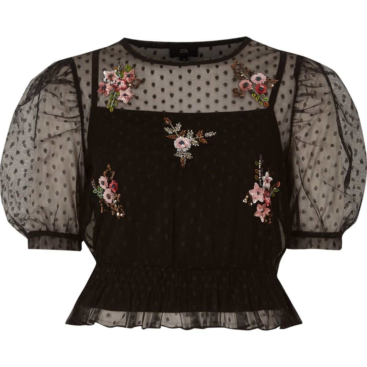 Black dobby mesh embroidered puff sleeve top