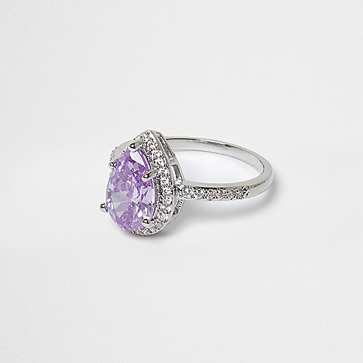 Silver tone lilac rhinestone ring