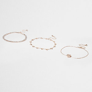 Gold tone diamante heart bracelet pack