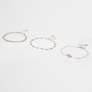 Gold tone rhinestone heart bracelet pack