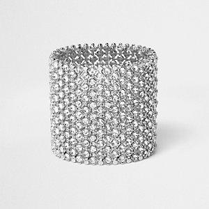 Bracelet large argenté orné de strass