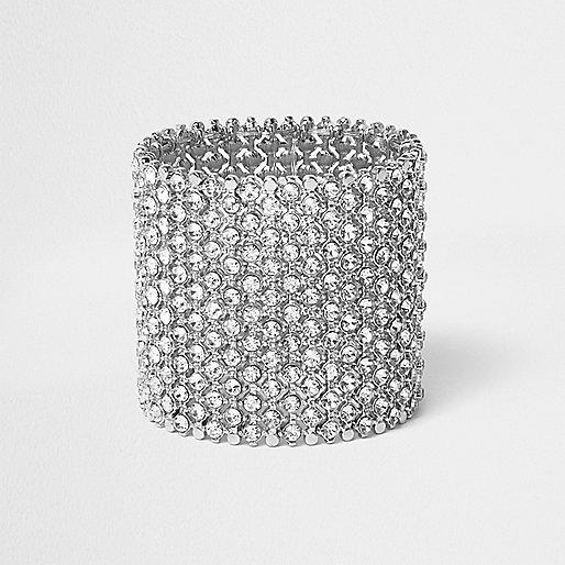 Silver tone wide rhinestone bracelet