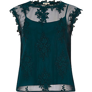 Green sleeveless lace and mesh top