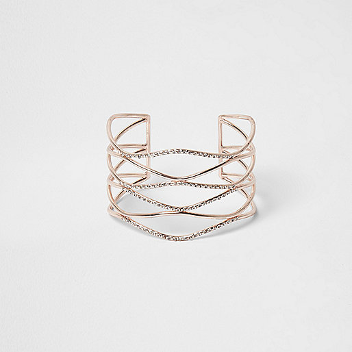 Rose gold tone wavy diamante cuff