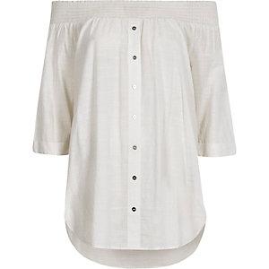 White shirred bardot shirt