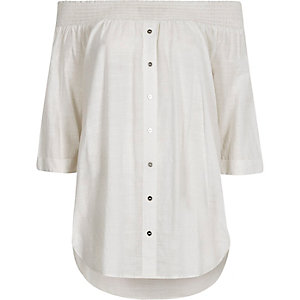 White shirred bardot shirt