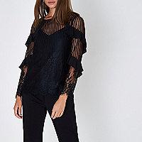 Black lace mesh long sleeve top
