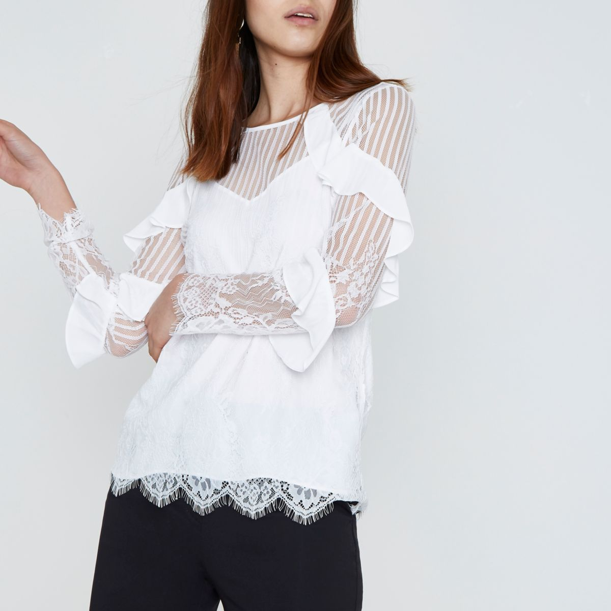 White lace mesh long sleeve top