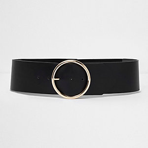 Black round buckle elasticated waist belt