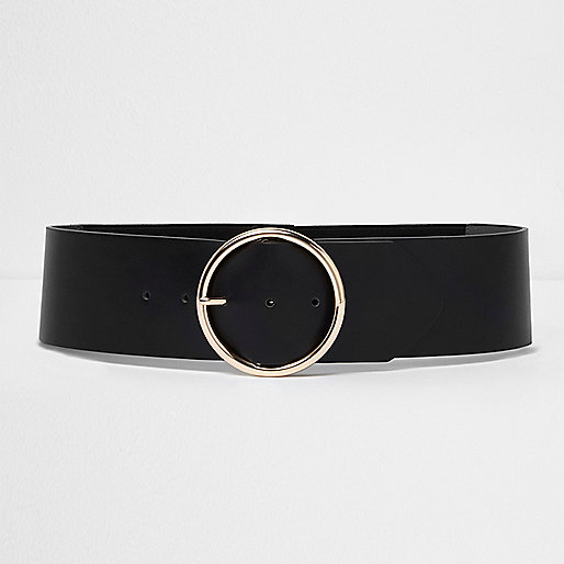 Black round buckle elasticated waist belt