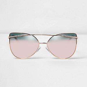 Lunettes de soleil doré rose effet miroir rose