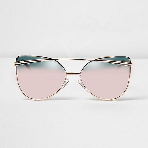 Rose gold tone pink mirror sunglasses