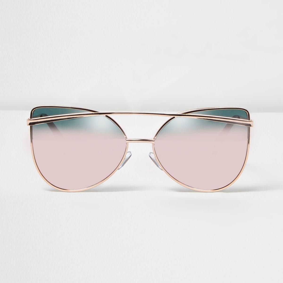 Rose gold tone pink mirror sunglasses