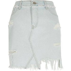 Jupe en jean bleu clair à déchirures