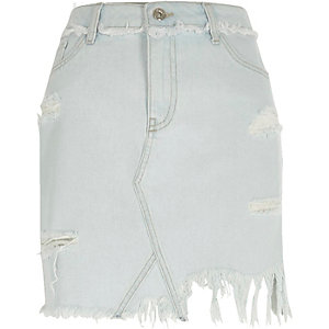 Lichtblauwe ripped denim rok