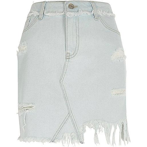 Light blue ripped denim skirt
