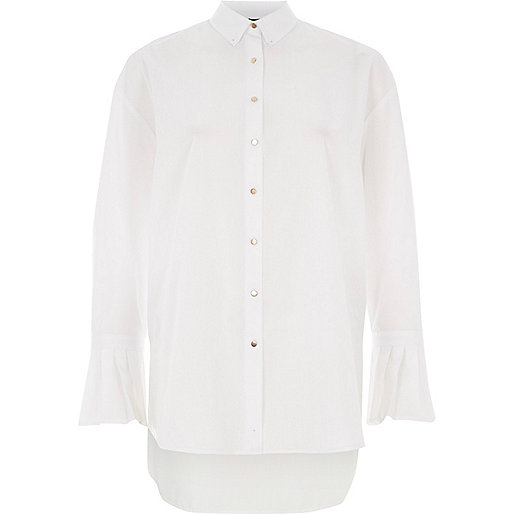 White pleat cuff oversized shirt