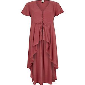 Pink short sleeve high-low ruffle hem kimono