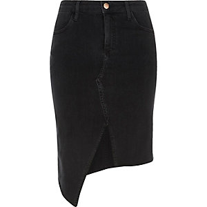 Black washed asymmetric denim skirt