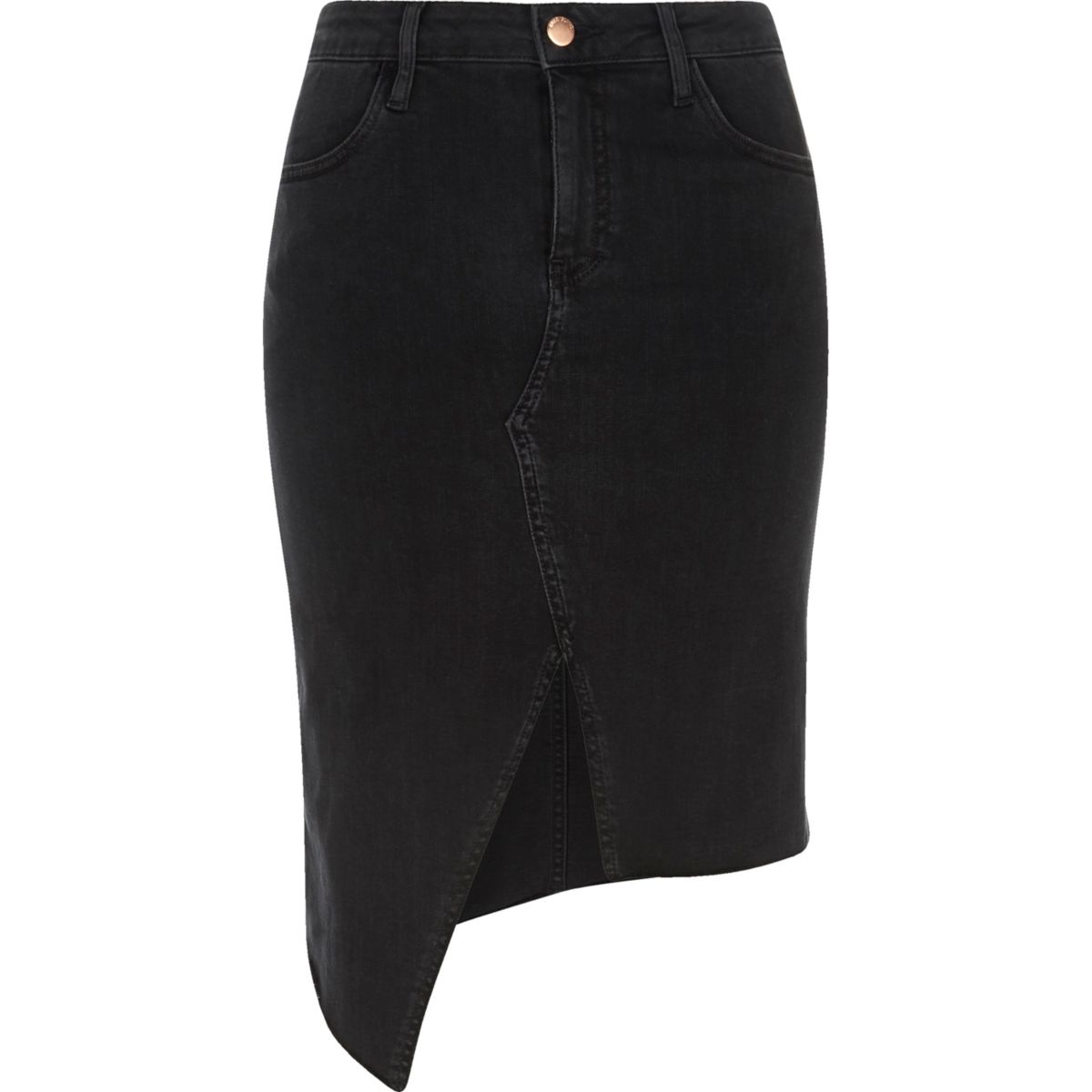 Black washed asymmetric denim skirt