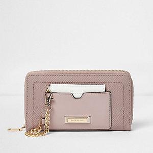 Porte-monnaie porte-cartes rose zippé avec chaîne