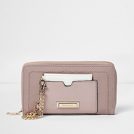 Pink chain card holder zip around purse